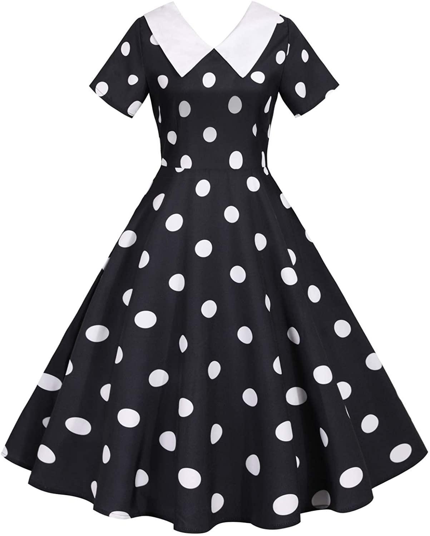 Wellwits Women's Shirt Collar Polka Dots 1950s Retro Swing Vintage Dress
