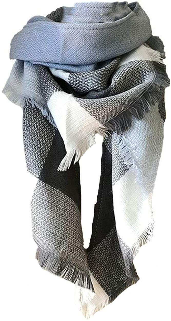 ba knife Women's Fall Winter Scarf Classic Tassel Plaid Scarf Warm Soft Chunky Large Blanket Wrap Shawl Scarves