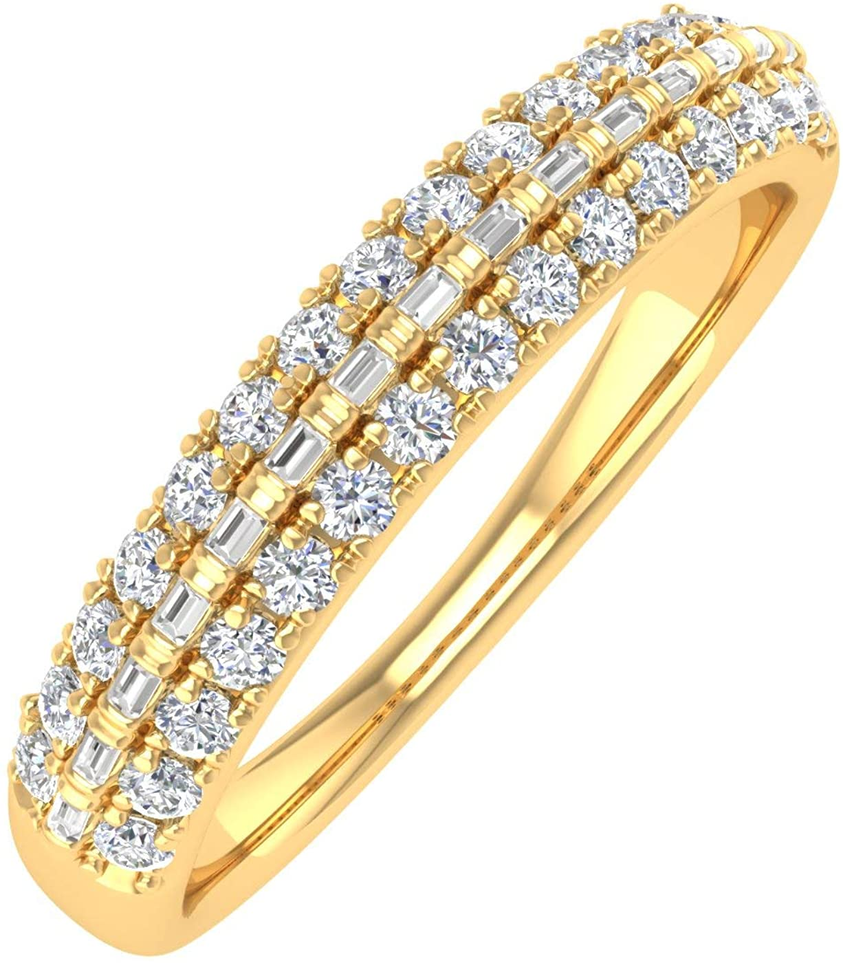 1/2 Carat Baguette and Round Shape Diamond Wedding Ring in 10K Gold