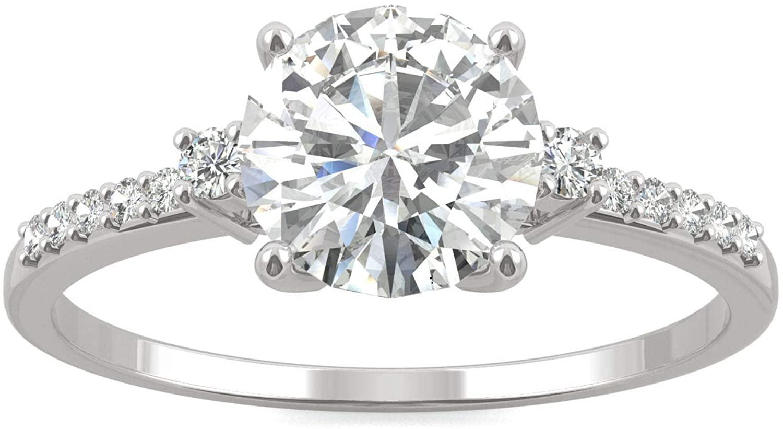 14K White Gold Moissanite by Charles & Colvard 7mm Round Engagement Ring, 1.31cttw DEW