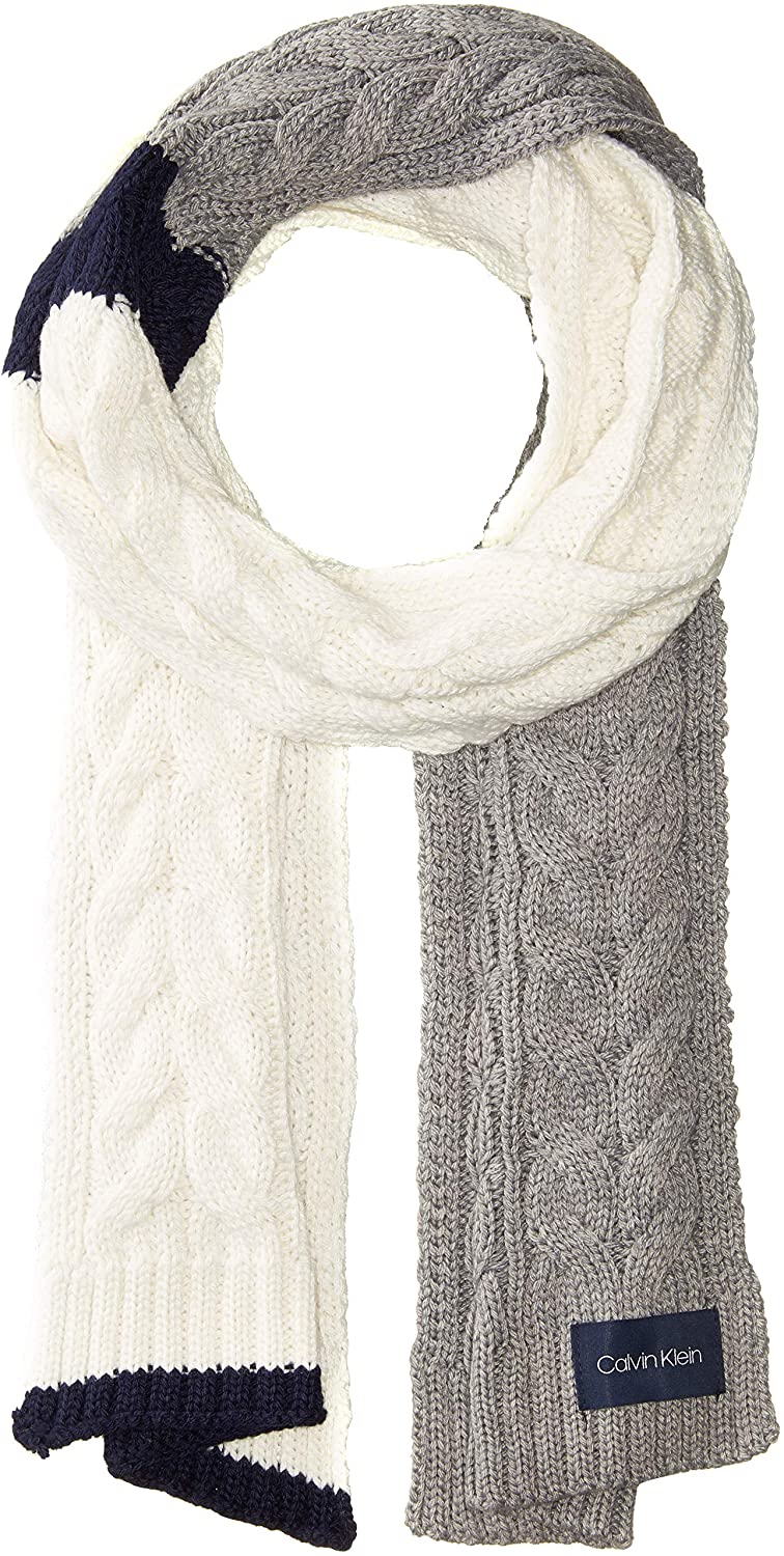 Calvin Klein Womens Colorblock Cable Scarf