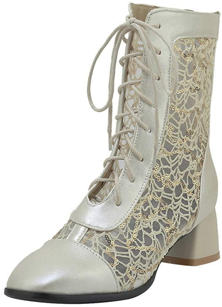 Luis Vuis Women Fashion Lace Up Summer Boots Mid Block Heels