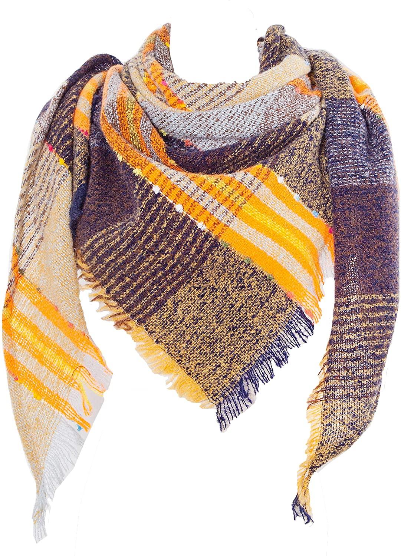 Wander Agio Womens Warm Scarf Half Shawls Triangle Scarves Stripe Plaid