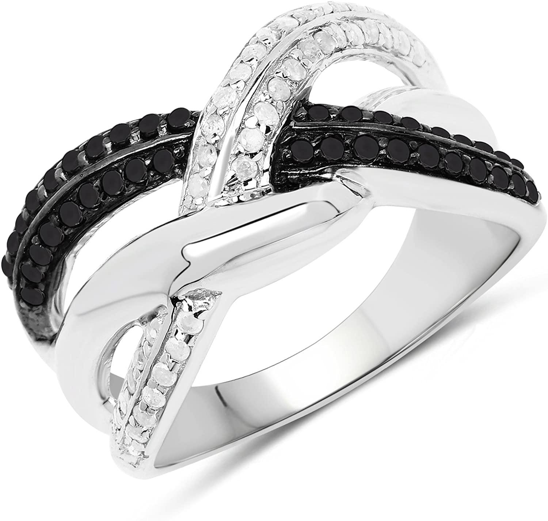 0.52 Carat Genuine White Diamond and Black Diamond .925 Sterling Silver Ring