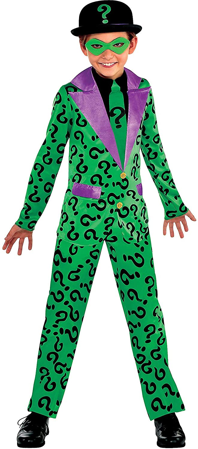 Suit Yourself Batman Classic Riddler Costume for Boys, Includes a Jumpsuit, an Eye Mask, and a Black Hat