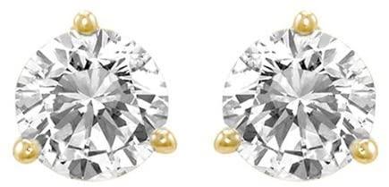 1.5 Carat Solitaire Diamond Stud Earrings Round Brilliant Shape 3 Prong Screw Back (J-K Color, I2 Clarity)