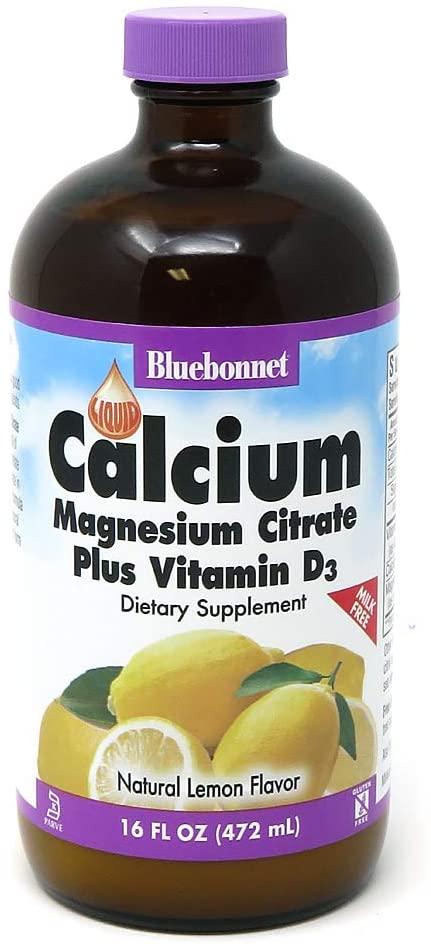 Bluebonnet Nutrition Liquid Calcium Citrate Magnesium Citrate, Vitamin D3, Bone Health, Gluten Free, Soy free, milk free, kosher, 16 Fl Oz, 32 Servings, Lemon Flavor