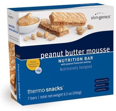 SlimGenics Thermo-Snacks ®  10g Protein - Alleviate Cravings, Increase Energy and Mental Focus, Enhance Weight Loss Results - Kosher Certified, 150 Calories - 7 Bars   Peanut Butter