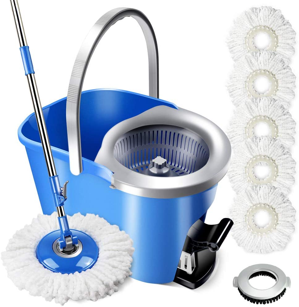 MASTERTOP Magic Spin Mop and Bucket Set with 5 Pcs Refill Mop Pads 1Pcs Brush Head Foot Pedal Microfiber Mop