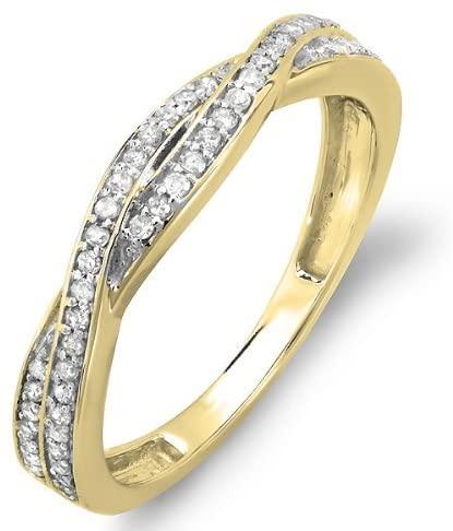 Dazzlingrock Collection 0.25 Carat (ctw) 14K Gold Round Diamond Anniversary Wedding Band Swirl Matching Ring 1/4 CT