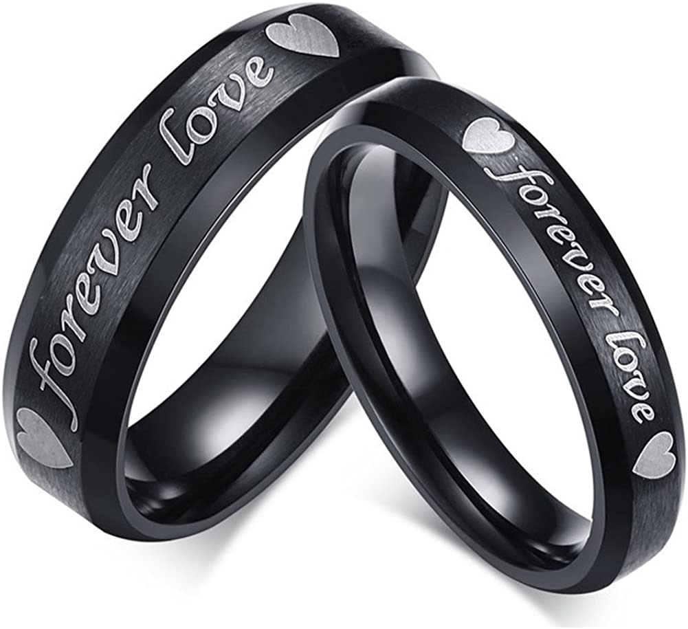 GINBL 6mm Men Stainless Steel Forever Love Couples Wedding Rings Black 4mm Women Engagement Promise Bands
