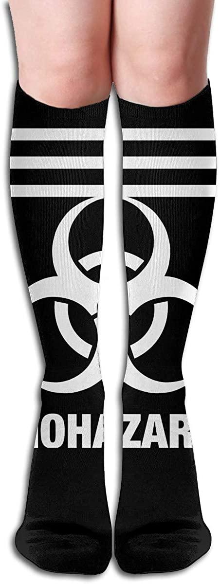 Biohazard Symbol Women's Casual Knee High Tube Socks Triple Stripe Crew Mid-Calf Socks