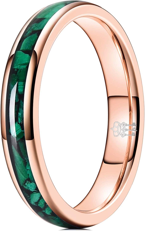 THREE KEYS JEWELRY 4mm Womens Tungsten Carbide Ring with Malachite Inlay Wedding Bands