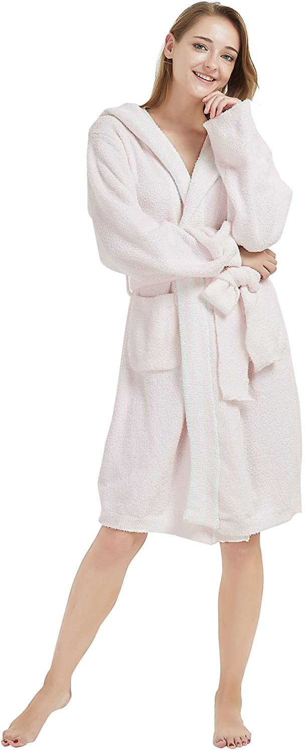 Adory Sweety Bathrobe for Women Snaps Plush Pajama Fleece Nightware Long Shower Robe Hooded for SPA Beach