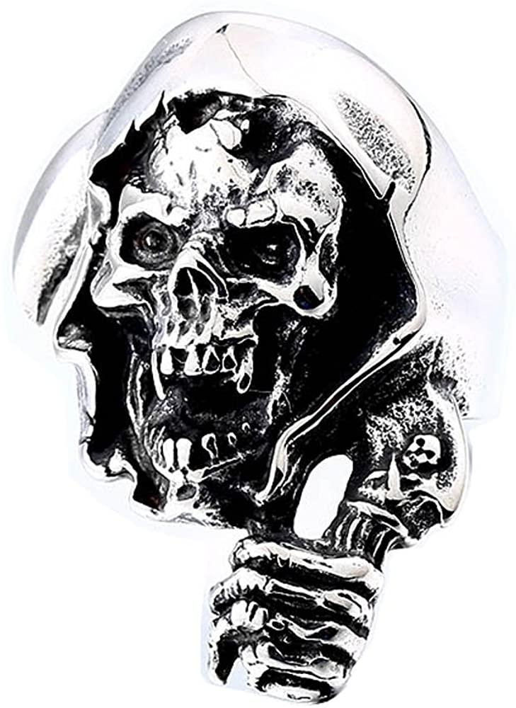 ZMY Men's Stainless Steel Domineering Rings, Reaper of Gothic Skull Ring for Men