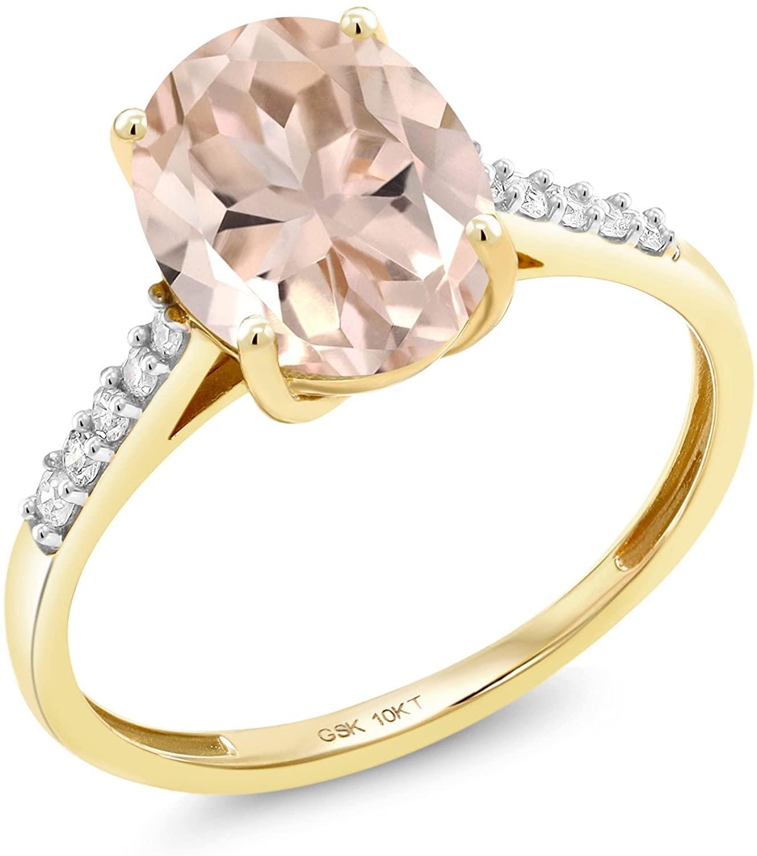 Gem Stone King 10K Yellow Gold 2.82 Ct Oval Peach Morganite White Diamond Ring