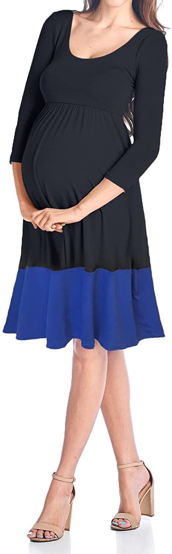 Beachcoco Womens Maternity Contrast Color Knee Length Dress (Large, Black/Royal Blue)