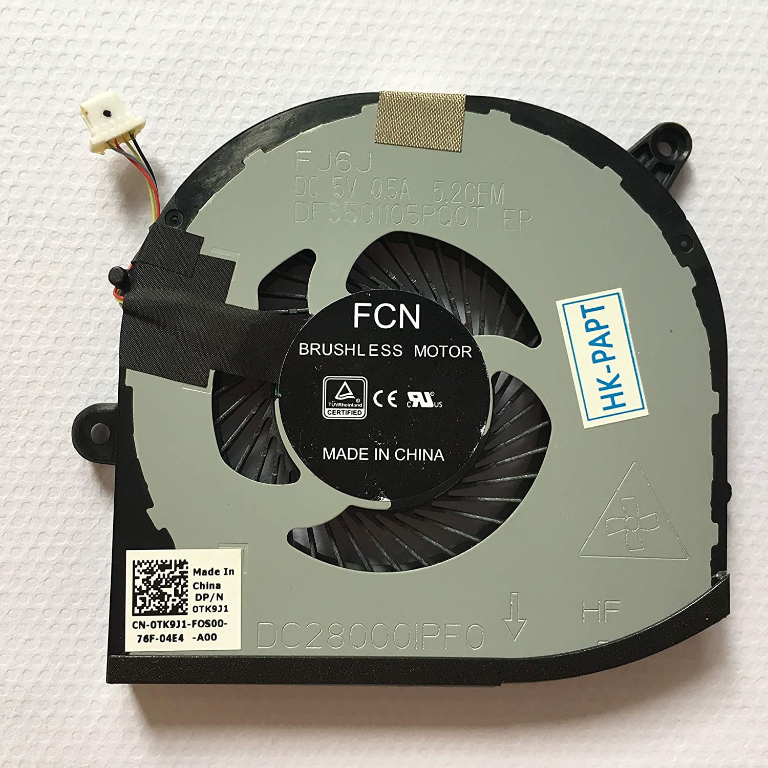 SYW·pcparts Replacement Fan for Dell XPS 15 9570 Right Side Cooling Fan 4-Pin 4-Wire DP/N: CN-0TK9J1 0TK9J1 TK9J1
