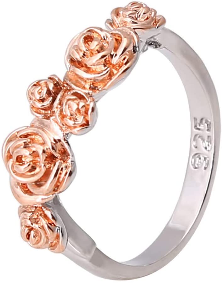 Timesuper Women Floral Ring Two Tone Rose Flower Ring Jewelry Size 6-10,Size 9