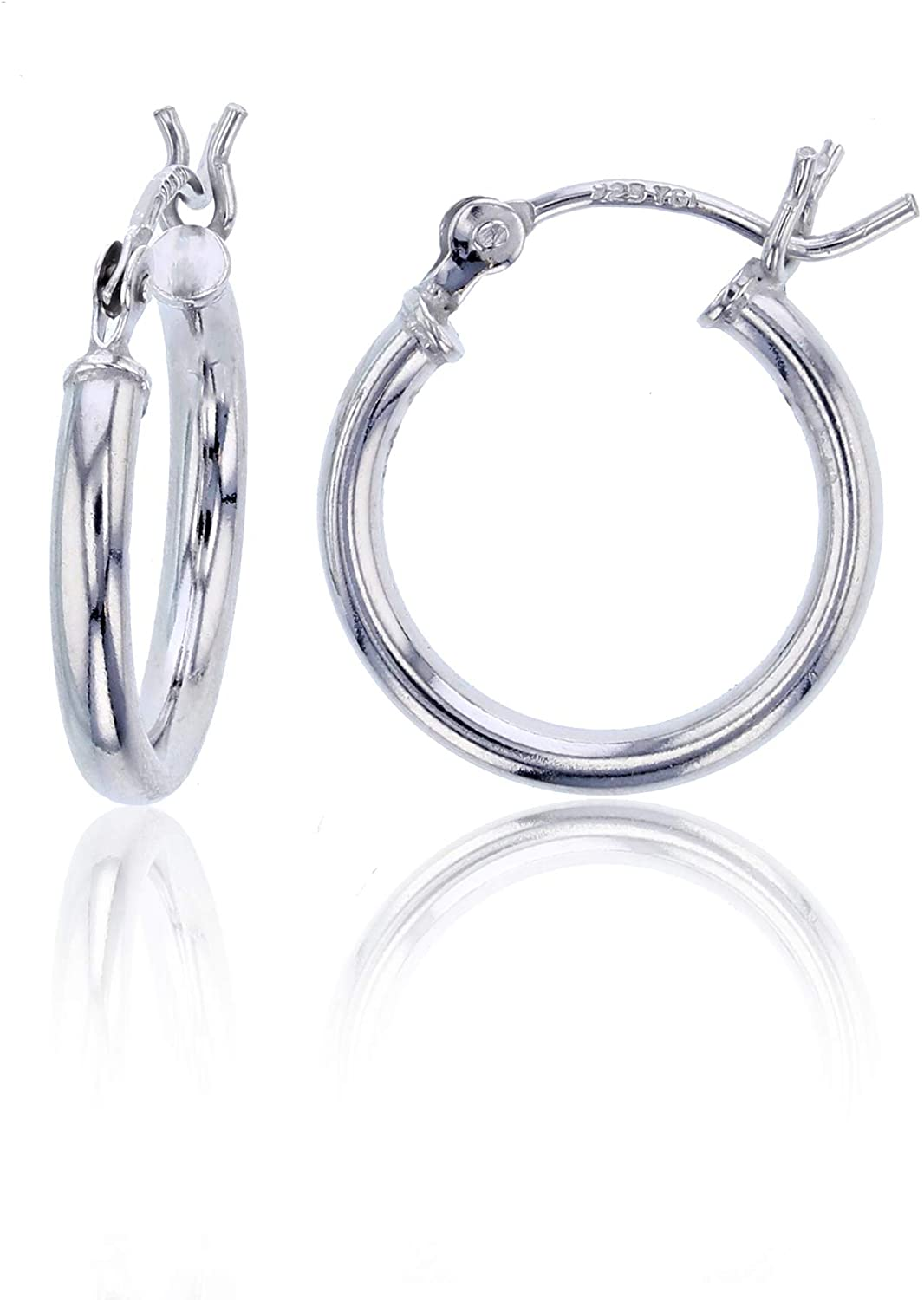 14K Gold Plated 925 Sterling Silver High Polished Hoop Earrings for Women   1mm-4mm Thick Hoops   Secure Snap Bar Closure   Shiny Classic Earrings, 10mm-70mm