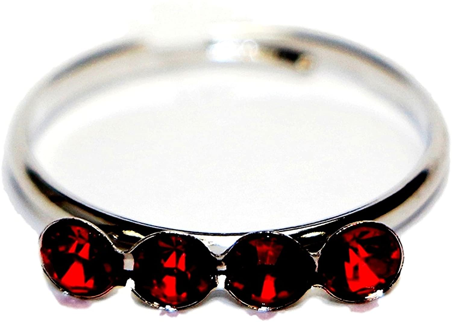 Jewels Fashion Surgical Stainless Steel Cubic Zirconia Adjustable Hypoallergenic Toe Rings (Red)