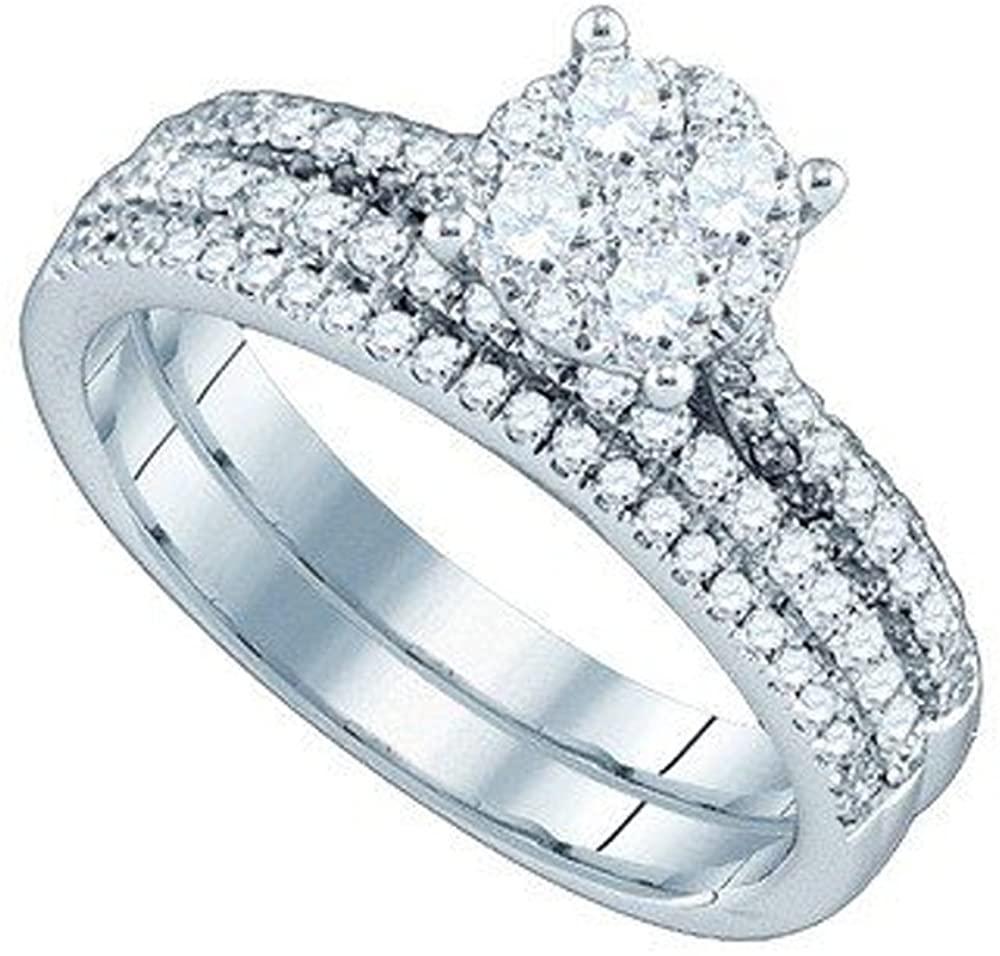 Dazzlingrock Collection 0.96 Carat (ctw) 18K Round White Diamond Ladies Bridal Engagement Ring Matching Band Set 1 CT, White Gold