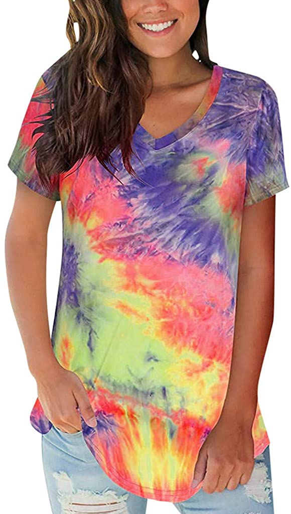 Vedolay Womens Summer Tops Casual, Women's Tie Dye Basic V Neck Short Sleeve Print Loose T-Shirt Tops Blouse