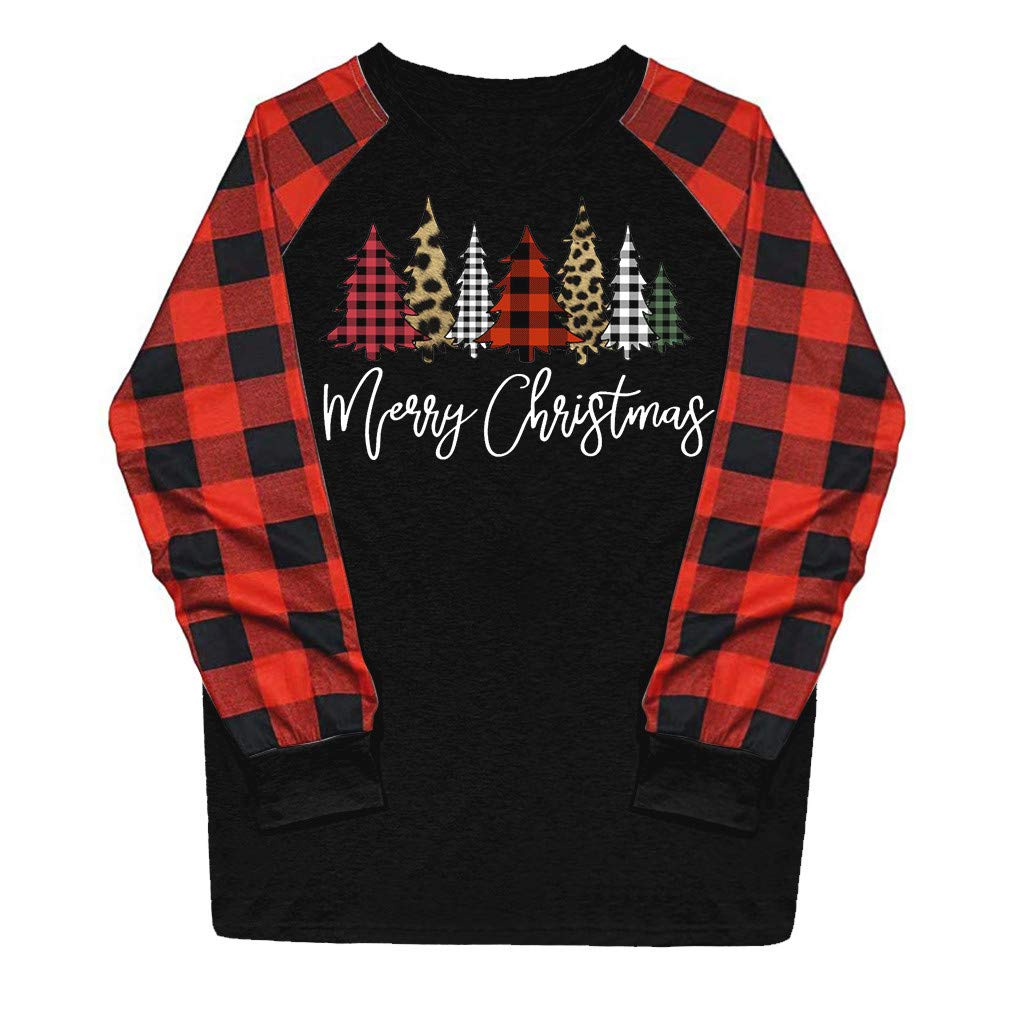 Blouses for Women Business Casual Casual Christmas Printing Plaid Raglan Long Sleeve Shirts Blouse Tops Halloween Christmas Onsale Black M