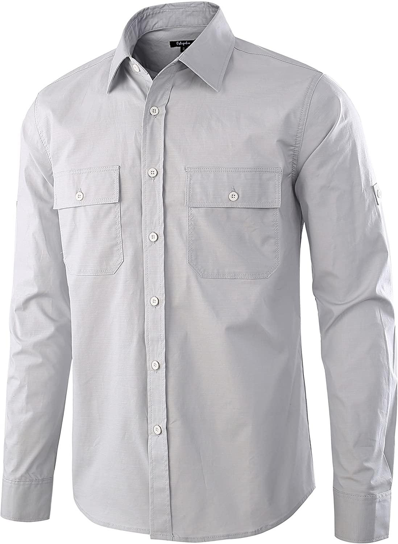 Estepoba Men's Premium Casual Cotton Long Sleeve Outdoor Button-Down Work Shirt