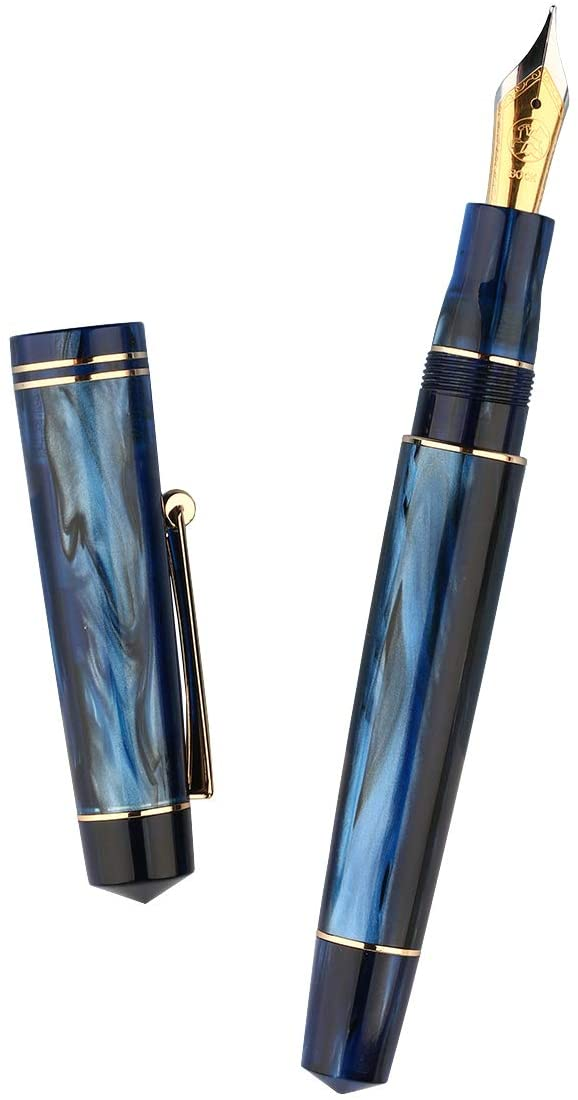 Moonman M800 Blue Celluloid Fountain Pen, Germany Bock Fine Nib with Converter and Pen Case Set