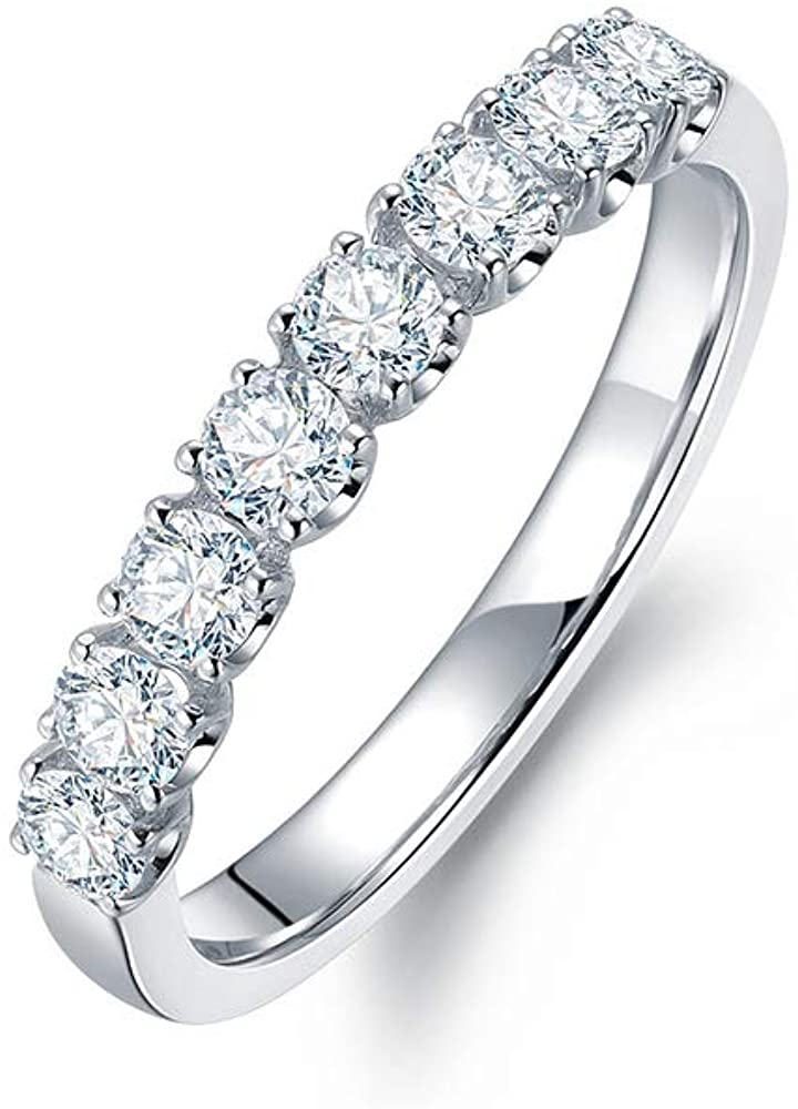 14K White Gold 0.45 Carat(ctw) Moissanite Engagement Ring Eternity Wedding Bands Ring for Women 10K 18K Yellow Gold Personalized Custom Name Women's Moissanite Ring, Size 4-12