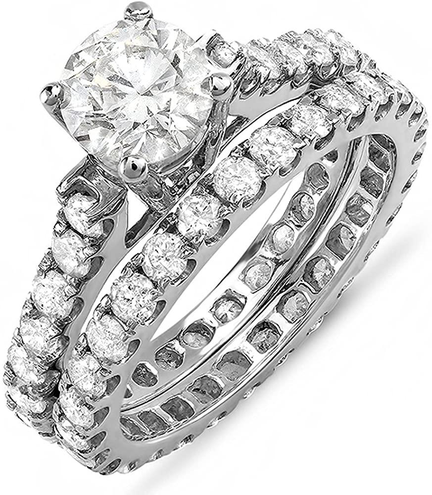 Dazzlingrock Collection 1.50 Carat (ctw) 14K Round White Diamond Semi Mount Bridal Ring Set 1 1/2 CT (No Center Stone), White Gold