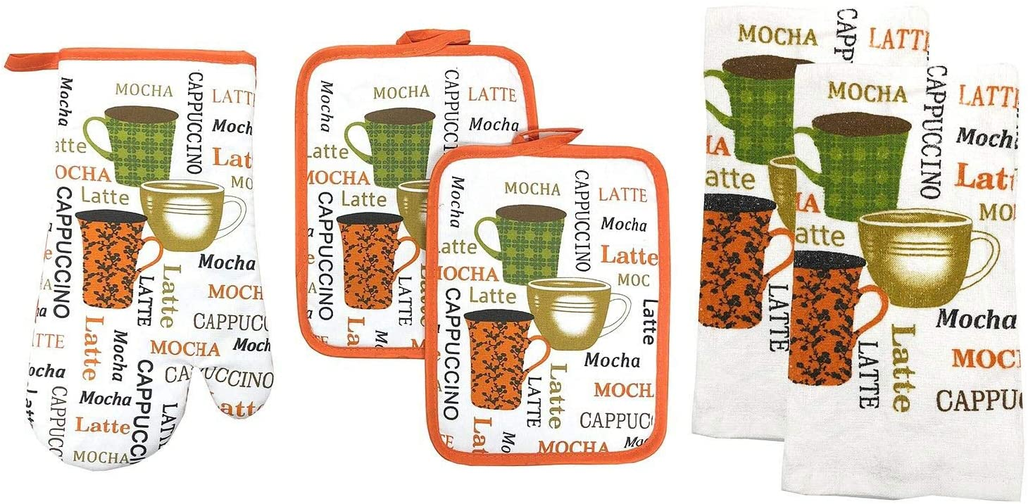 Kitchen Collection 5-Piece Kitchen Linen Set, Set of 1 Oven Mitt, 2 Pot Holders and 2 Kitchen Towels, Value Pack Perfect for Gift, Great for Combining Fun and Color Into The Kitchen (Mocha Latte)