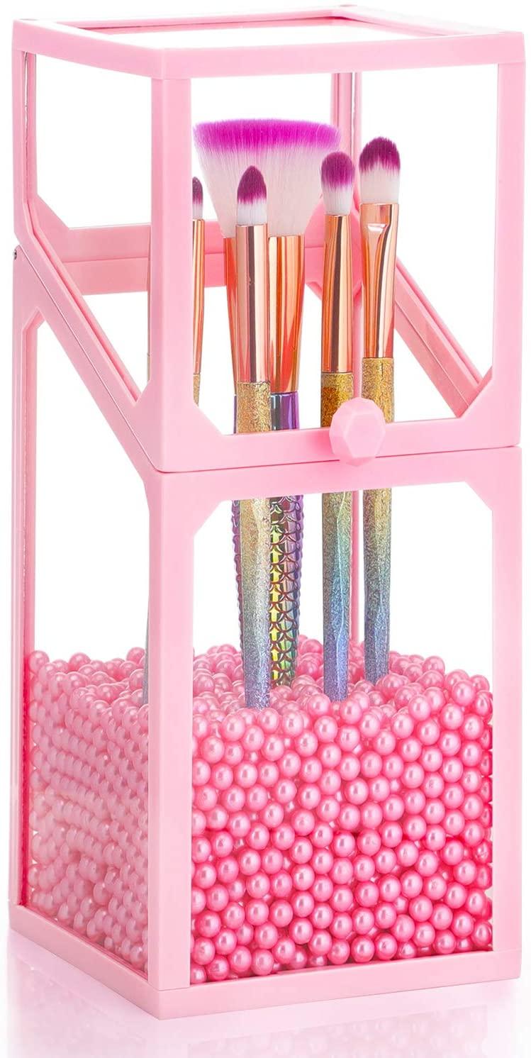 "Glass Transparent Makeup Brush Organizer, Suream 8.3"" Pink Square Cosmetic Beauty Makeup Storage with Lid, Eyeliner Display Organizer with Pink Pearls for Desktop, Dresser, Bedroom and Bathroom Vanity"