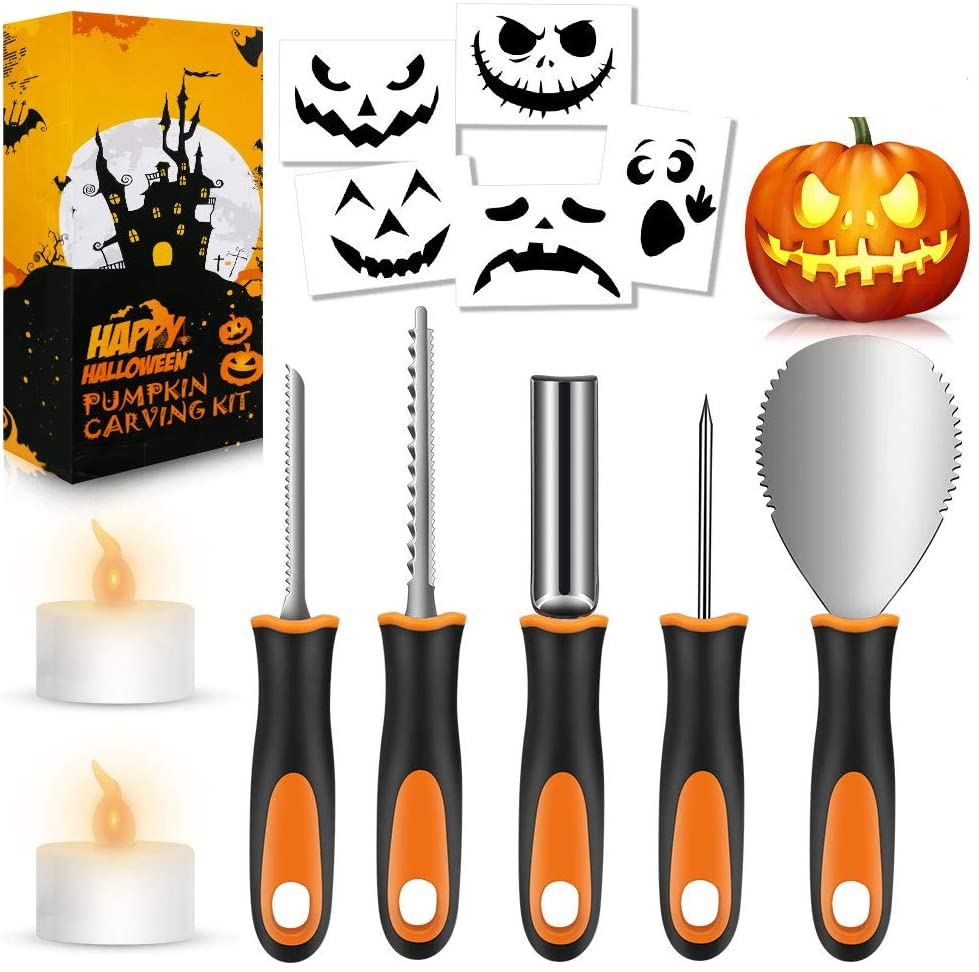 Halloween Pumpkin Carving Kit, Premium Stainless Steel Halloween DIY Decoration Stencils, 2 LED Candles, 13PCS Professional Pumpkin Cutting Supplies Tools with Heavy Duty Knife for Kids & Adults