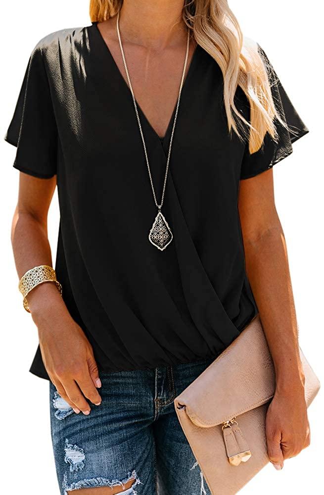 Farktop Womens V Neck Causal Wrap Blouses Short Sleeve Draped Surplice Loose Fit Summer Tunic Tops