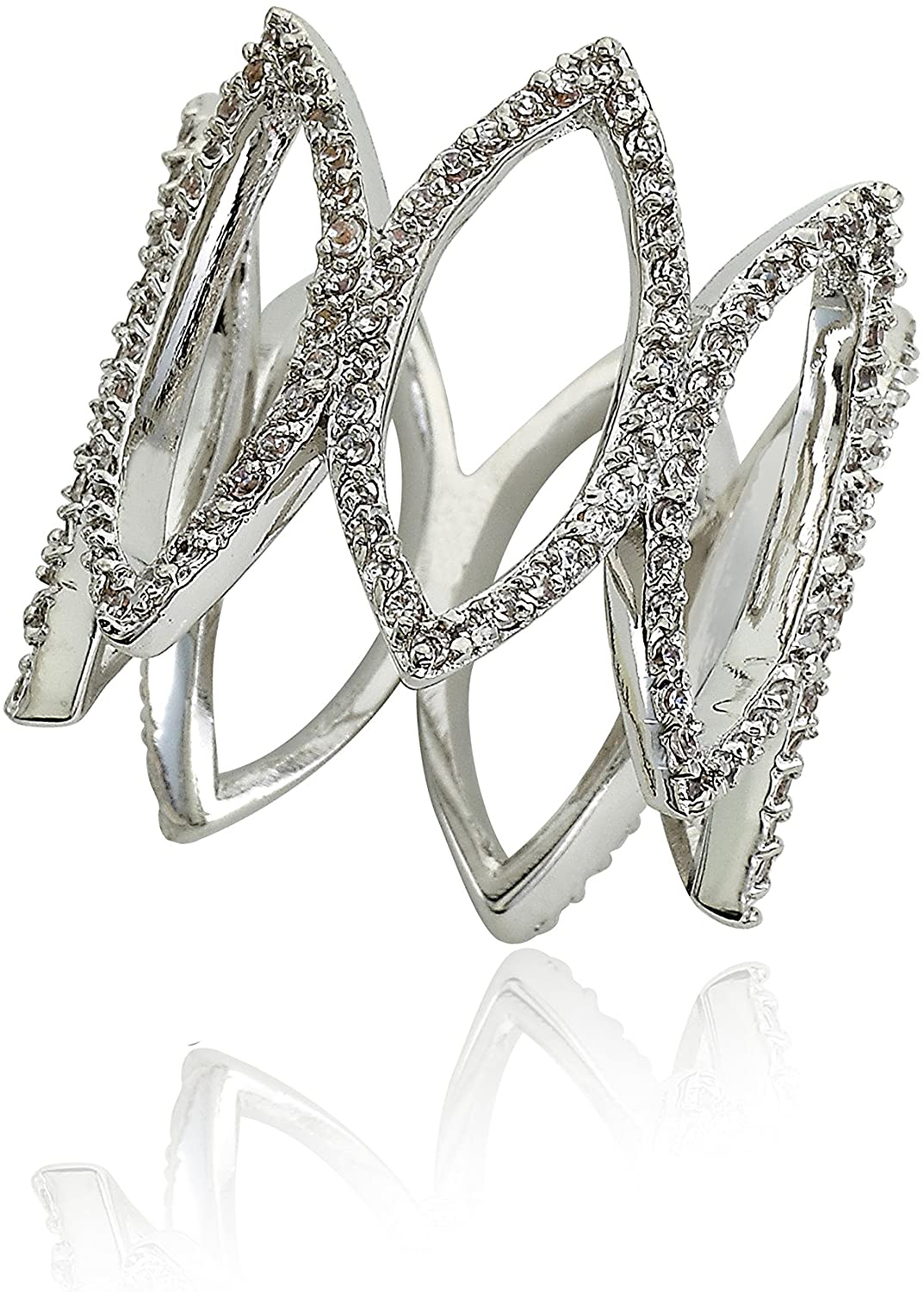 Riccova Retro CZ Open Diamond Shapes All Around Wide Ring