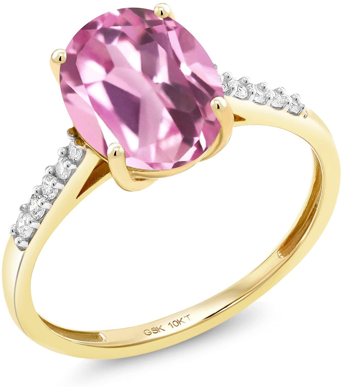 Gem Stone King 10K Yellow Gold 3.12 Ct Oval Light Pink Created Sapphire White Diamond Ring