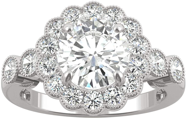 14K White Gold Moissanite by Charles & Colvard 8mm Round Engagement Ring, 2.56cttw DEW
