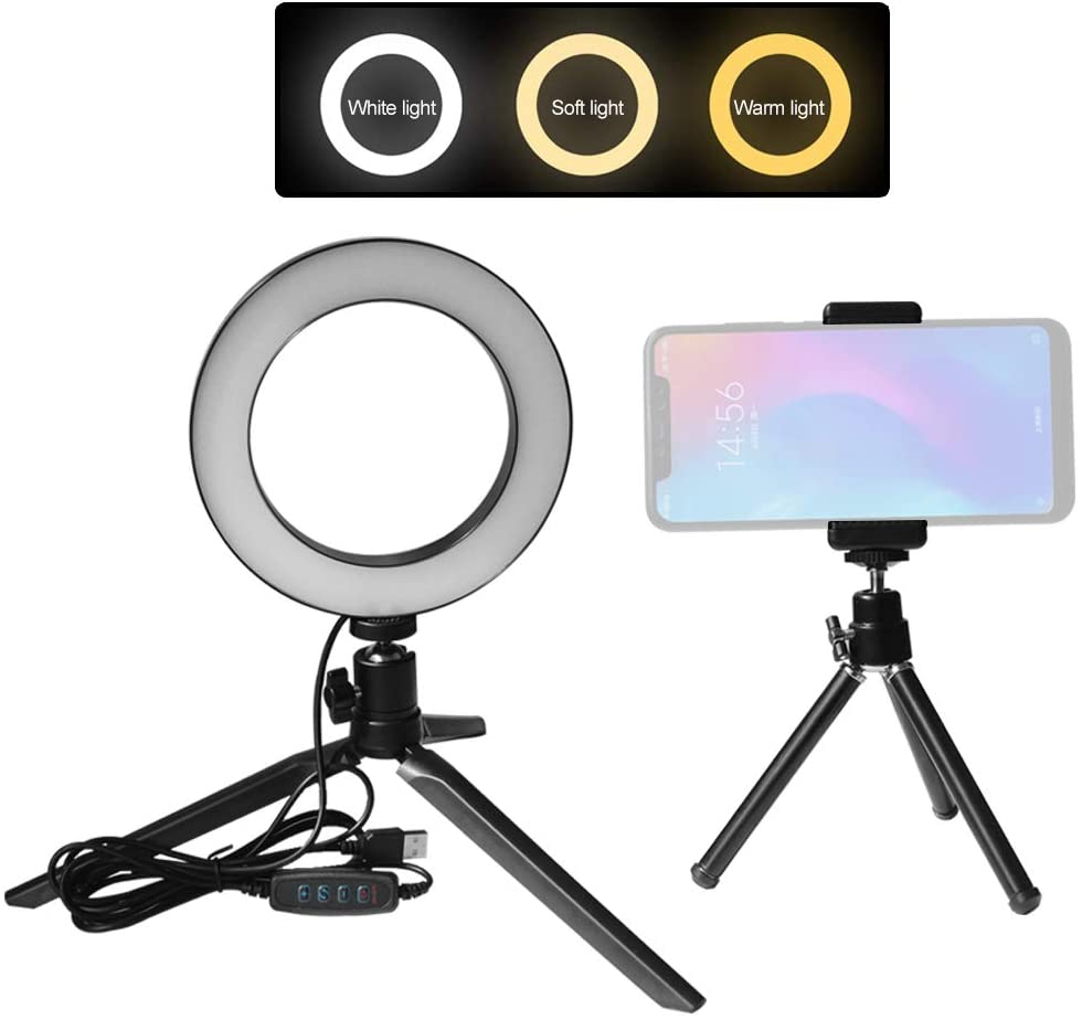 Docooler 6inch LED Ring Light with Tripod Phone holder3 Colors 3500-6500K Temperature 10 Levels Dimmable for Video Recording Live Sream Makeup Portrait YouTube Video Lighting