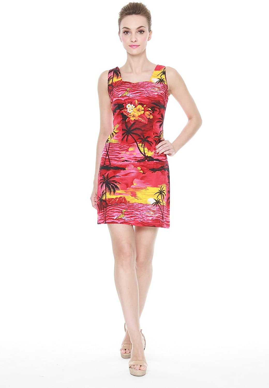 Plam Wave Women's Hawaiian Luau Tank Dress in Sunset Red Print