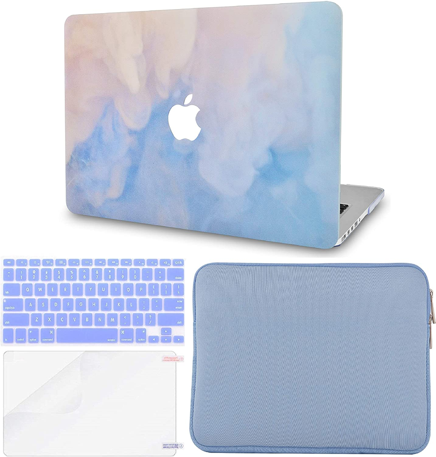 LuvCase 4 in 1 Laptop Case for MacBook Air 13 Inch A1466 / A1369 (No Touch ID)(2010-2017) Hard Shell Cover, Slim Sleeve, Keyboard Cover & Screen Protector (Blue Mist)