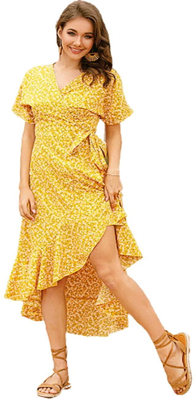 Efun Garment Women's V Neck Floral Print Short Sleeve Ruffles Hem A-line Belted Wrap Dress