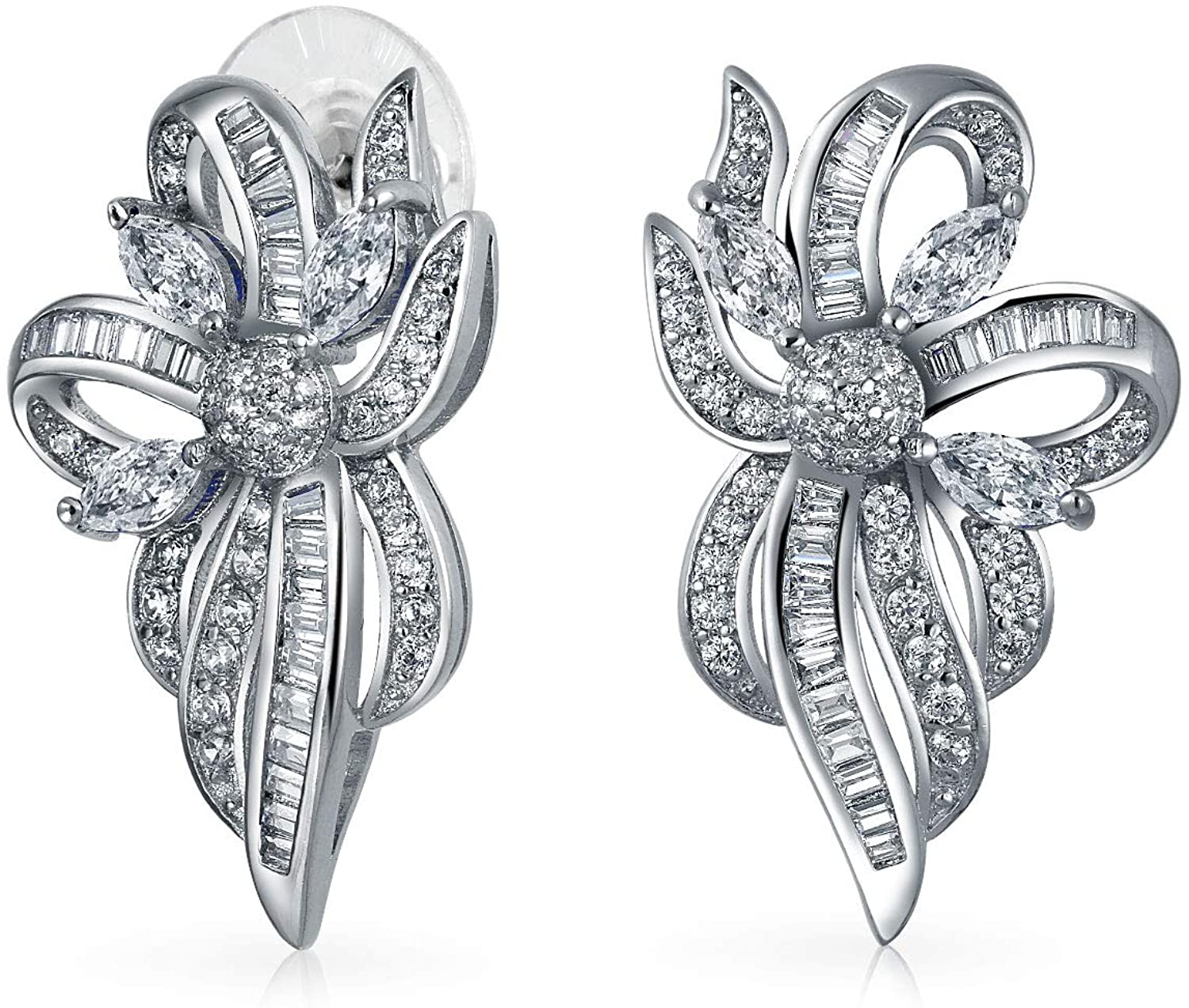 Holiday Bridal Vintage Style Bridal Blue White Crystal Ribbon Bow Drop Stud Earrings For Women Wedding Silver Plated