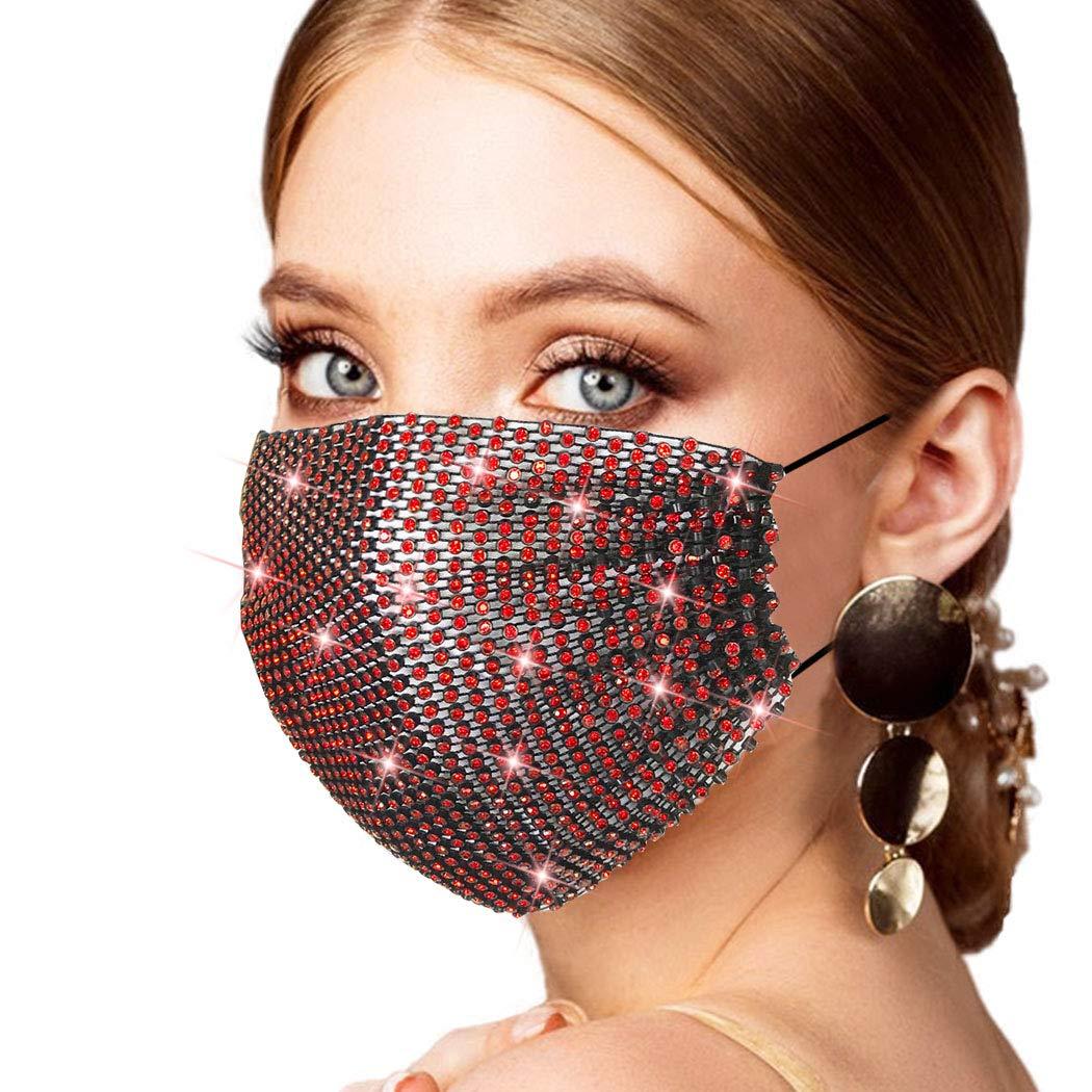 Halloween Sparkly Rhinestone Masquerade Covering Black Red Diamond Crystal Mesh madks Decoration Costume Nightclub Face Cover