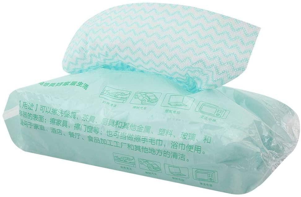 Strnek 80pcs Disposable Non-Stick Oil Non-Woven Fabric Duster Dish Cloth Hand Towel Kitchen(Green)