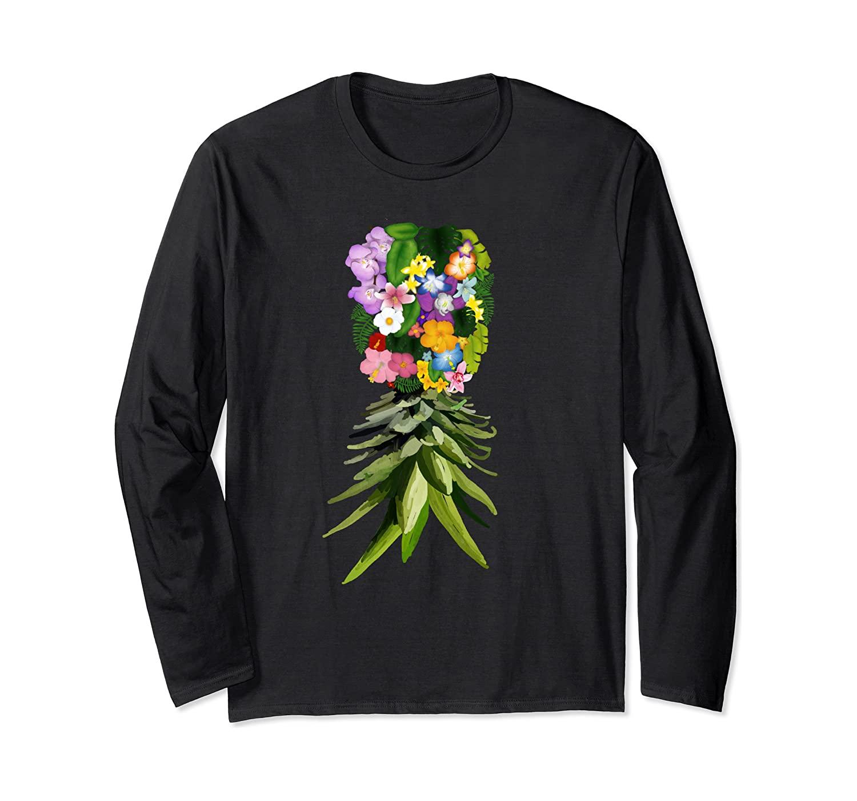 Upside Down Pineapple Floral Gift Swinger Men Women Kids Long Sleeve T-Shirt