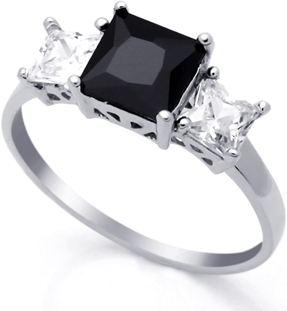 Double Accent Sterling Silver Black & White Princess CZ Three Stone Anniversary Ring 7MM (Size 4 to 10)