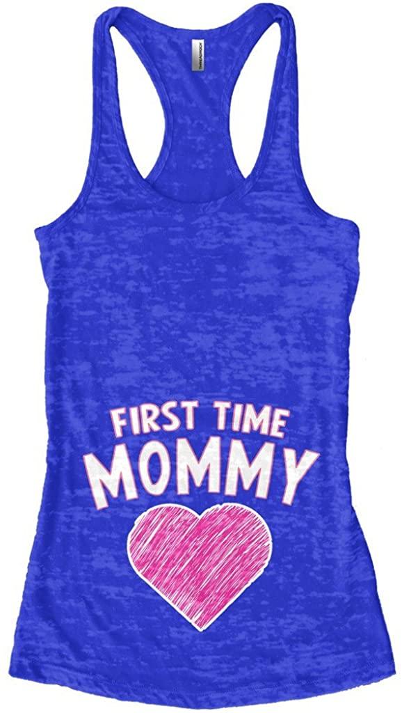 Threadrock Women's First Time Mommy Burnout Racerback Tank Top