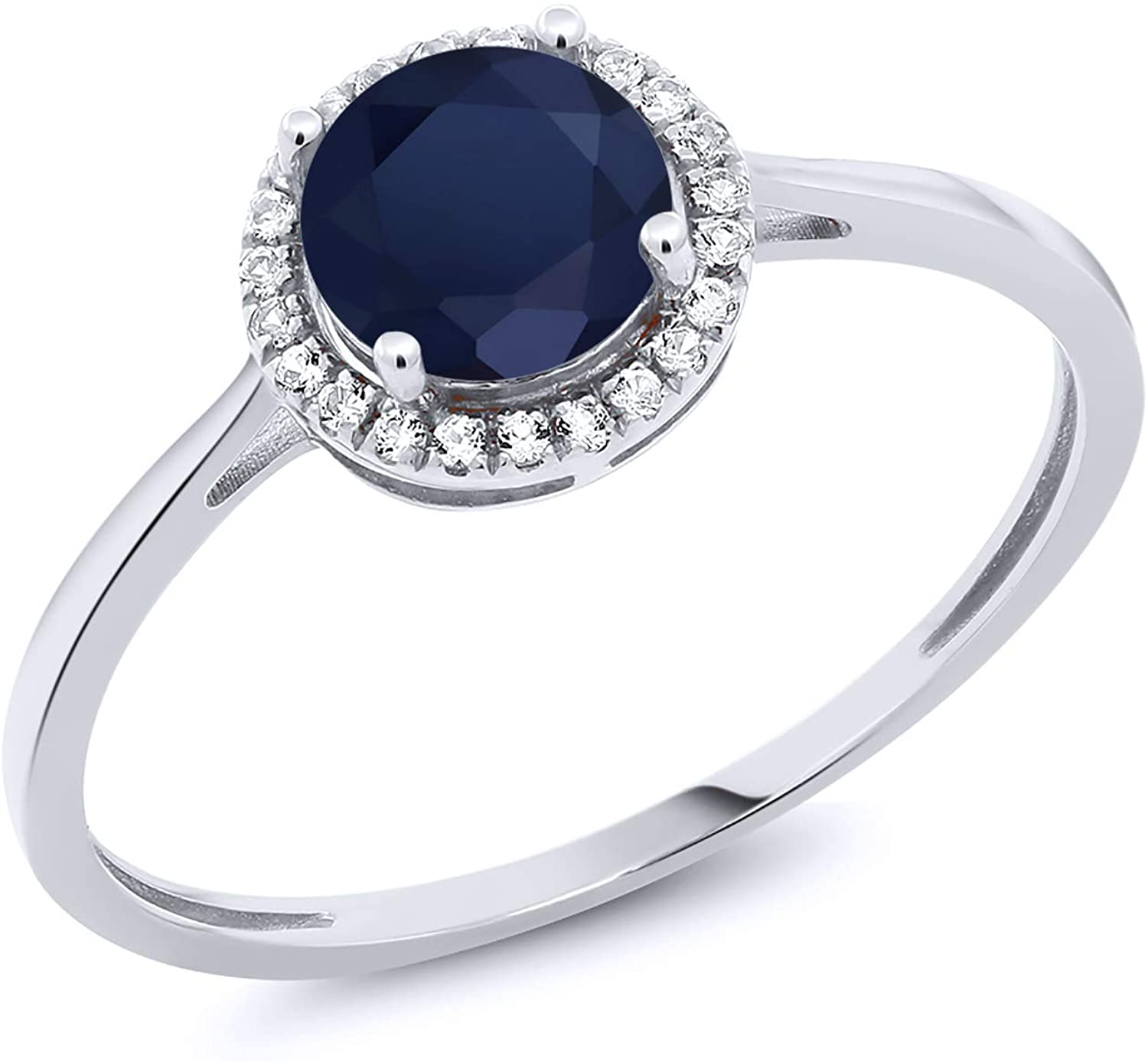 Gem Stone King 10K White Gold Blue Sapphire and Diamond Women's Engagement Ring (1.22 Cttw, Available 5,6,7,8,9)
